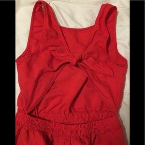 Orange/red open-back/tie dress